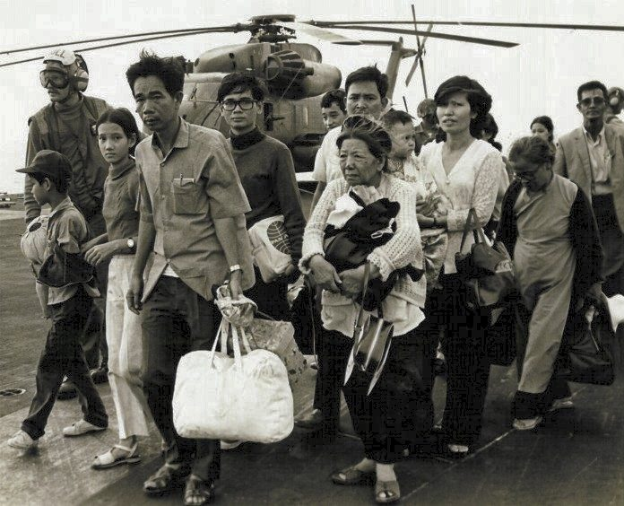 Vietnamese refugees on U.S. aircraft carrier