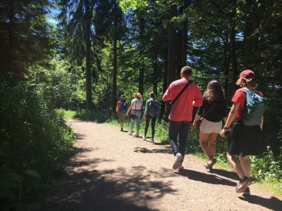 Students hiking in Europe