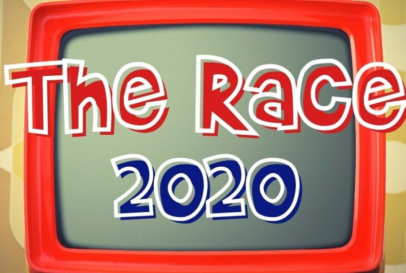 graphic image of a red television with the words 'The Race 2020' in red, white, and blue