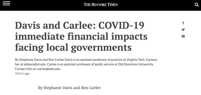 [Od-Ed in the Roanoke Times] Davis & Carlee: COVID-19 immediate financial impacts facing local governments