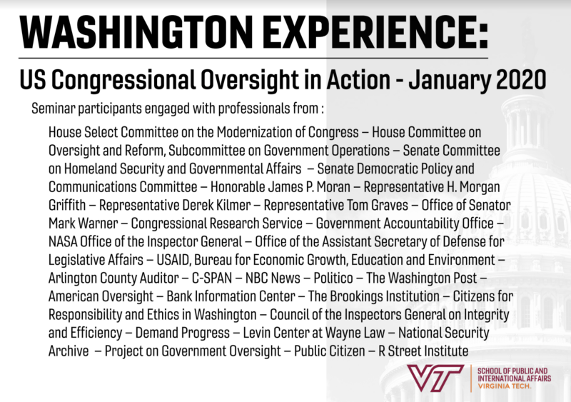 Washington Experience Winter Term 20-21